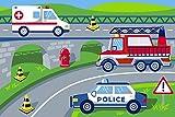 Bilira_Kids Kinderteppich Spielteppich Feuerwehr Polizei Krankenwagen Einsatzfahrzeuge Läufer