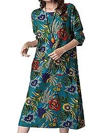 4ca0e71d6836 P Ammy Fashion Women s Retro Floral Cotton and Linen Long Sleeves Maxi Dress