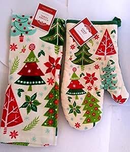 Holiday Time Christmas Towel Set Kitchen Towel & Potholder (Christmas Trees) by Holiday Time
