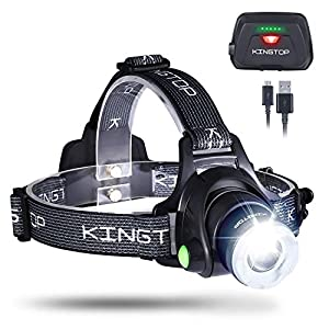 LED Stirnlampe Wasserdicht KINGTOP USB Wiederaufladbare LED Kopflampe, 3 Lichtmodi 600lm, Perfekt für Camping,Joggen, Spazieren und andere Outdoor Sport