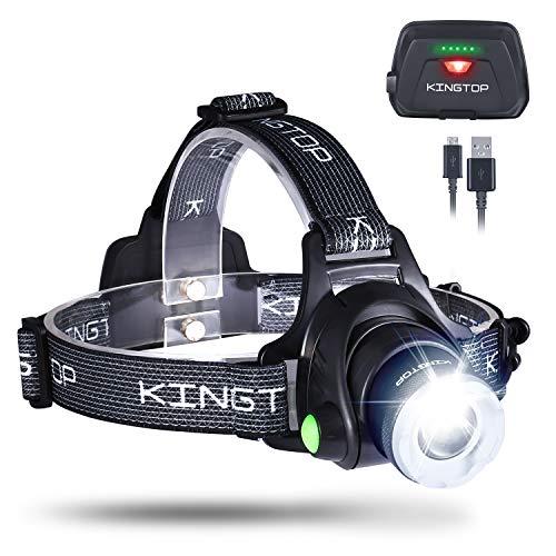 KINGTOP LED Stirnlampe Wasserdicht USB Wiederaufladbare LED Kopflampe, 3 Lichtmodi 600lm, Perfekt für Camping,Joggen, Spazieren und andere Outdoor Sport