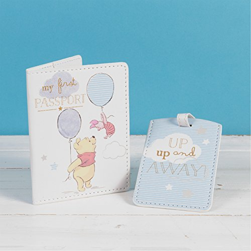 Ukgiftstoreonline - Étui pour passeport et étiquette de bagage avec motif Winnie l'ourson de Disney - Cadeau idéal