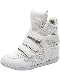 ZHZNVX Scarpe da Donna Pelle Bovina Primavera Comfort Moda Stivali Sneakers  Tacco a Zeppa Bianco 903496241d6