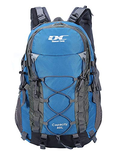 Wasserdichter Rucksack 40L Leicht - Diamond Candy Erwachsene Wanderrucksack Herren Damen Outdoorrucksack für Wandern Trekking Klettern Camping Reiten Reisen Freizeit, mit Regenschutz, für 16