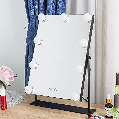Zontoo Led Espejo Espejo cosmético con Bombilla Cuadrado de Escritorio Espejo cosmético LED Espejo...