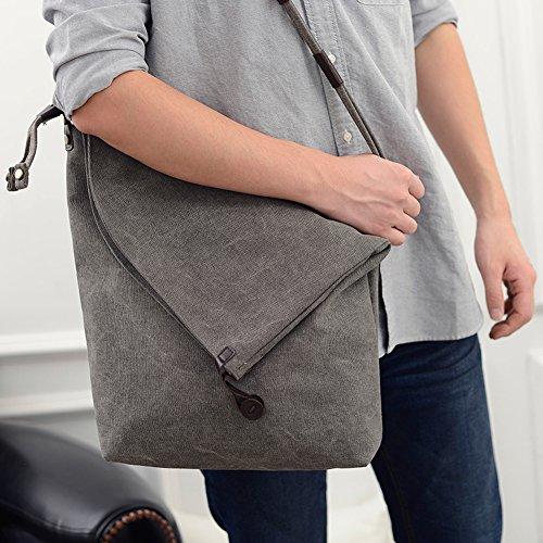 Herren und Damen groß Umhängetasche Canvas Schultertasche Leinwand Messenger Tasche Grau