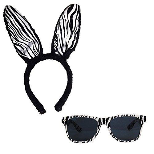 Partybob Damen Zebra Kostüm (Zebra Kostüm Ohren)