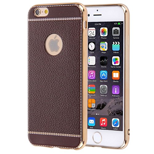 Für iPhone 6 / 6s, 3D Litchi Texture Soft TPU Schutzhülle DEXING ( Color : Black ) Coffee