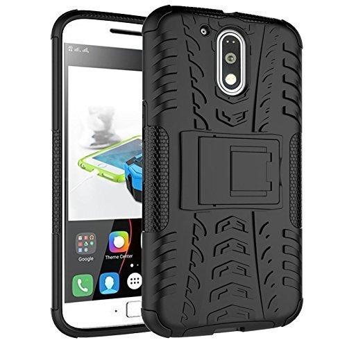Kaira Motorola Moto G4/Motorola Moto G4 Plus Rugged Dual Layer Kickstand Hybrid Warrior Case Back Cover (Black)