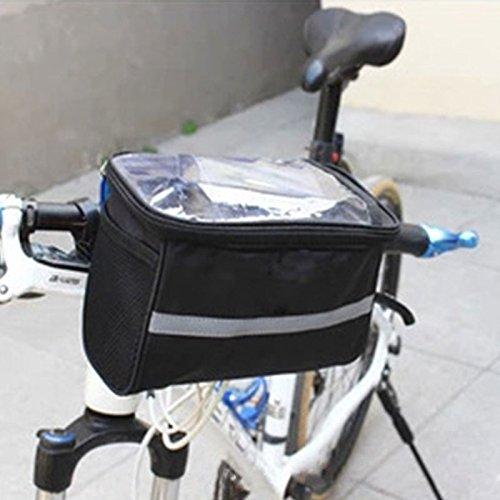 Forfar Fahrrad Radfahren Basket Lenkertasche mit Streifen Außenaktivität Fahrrad-Pack Zubehör Black