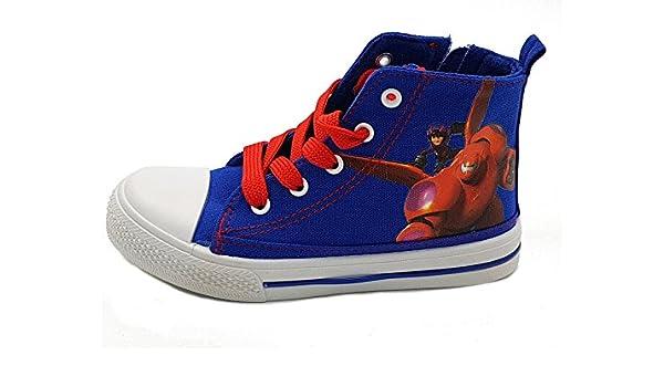 Shoes scarpe bimbo bambino primaverili estive sportive da ginnastica casual  comode con lacci e cerniera alla caviglia big hero cotone disney colore blu  ... 4989e7dc71e