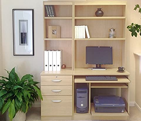 SET-17-IN-BE Beech Computer Table Workstation Desk Hutch Book Shelf Home Office Furniture UK Modular For Kids Small Space Teens Room Desktop In Living Bedroom Sets Collections