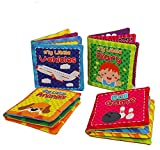 Quner Baby-Tuch-Buch, Stoffbuch Baby Set kuschelbuch Kinder Frühes Lernen Pädagogische Spielbuch baby zur Stärkung der Eltern Kind Beziehung ( Ein Satz von 4)