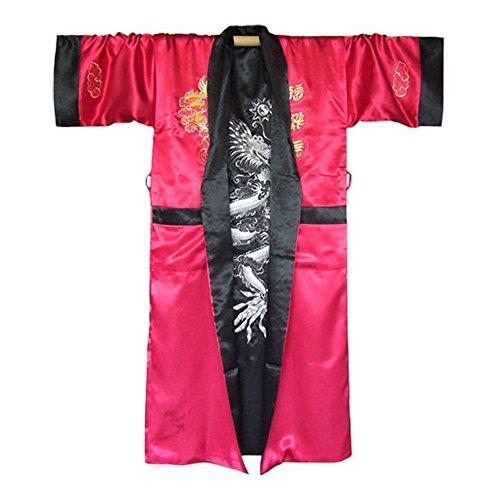 Japanischer Wende-Kimono Satin Morgenmantel für Damen & Herren mit Drachen-Stickerei Weinrot