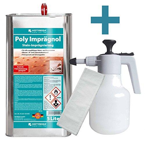 Preisvergleich Produktbild HOTREGA Poly Imprägnol Stein Imprägnierung 5 L SET + Druckspritze 15L + 3x Microfasermopp 40 cm
