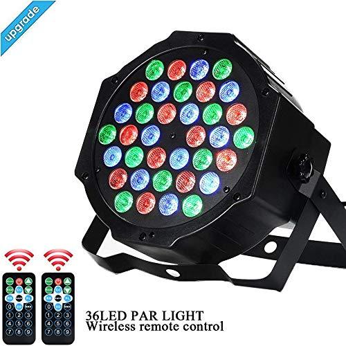 Light-36 (AONCO 36 LED Scheinwerfer Par Strahler, Discolicht, DJ Strobe Light, Bühnenbeleuchtung, Lampe, RBG mixing, 36W, DMX In/Out, 7 DMX Modi, 2 Fernsteuerungen)