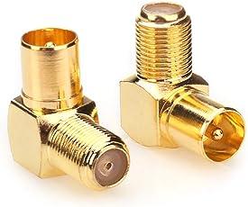 NANYI Koaxialstecker Buchse zu Stecker TV-Antenne Koaxial-TV-Kabel Koppler, rechtwinklig vergoldet T / F-Typ-Anschlussbuchse zu RF Coax Antenne Adapter-2-Stück