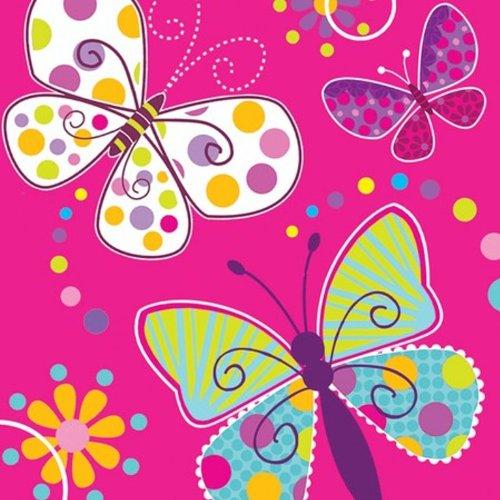 Creative Converting Getränkeservietten, Eulenmotiv, 16 Stück Lunch Butterfly Sparkle
