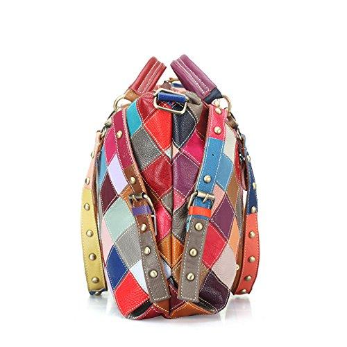 Mefly Il primo strato di pelle e colore colorato Fashion Borsetta tracolla nero Colourful