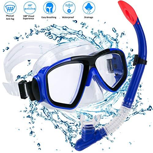 Set per Snorkeling, Diving Snorkeling Maschera Subacquea con boccaglio in Silicone Alimentare, Lente in Vetro temperato di Maschera per Snorkel, Vista cristallina e Cinturino Regolabile