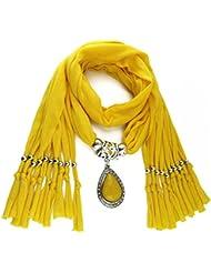 QHGstore Resina larga de la mujer poco Rhinestone bufanda colgante del collar de la bufanda del mantón con el colgante amarillo