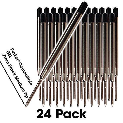 Jaymo - 24 - Schwarze Gel Parker® Kompatible Pen-Minen. Glattes Schreiben Deutsch .7mm Medium Tip and Ink. # 30525PP