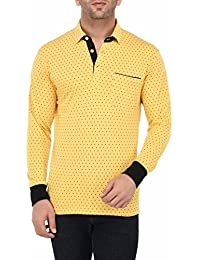 Vivid Bharti Men's Yellow Printed Full Sleeve HIGH Quality Tshirts