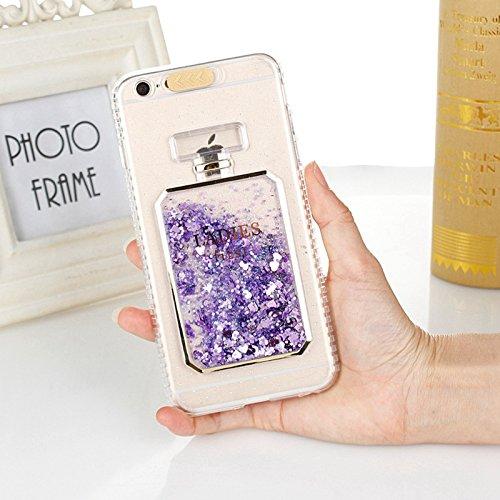 EINFFHO iPhone 5/5S/SE Hülle, Parfüm-Flasche Flüssigkeit fließt Funkeln Glänzend Glitzer Kristall Klar Silikon Etui Schutz Bumper Schutzhülle Handy Hülle für iPhone 5/5S/SE Mit Lanyard (Lila) - Case 5s Parfüm-flasche Iphone