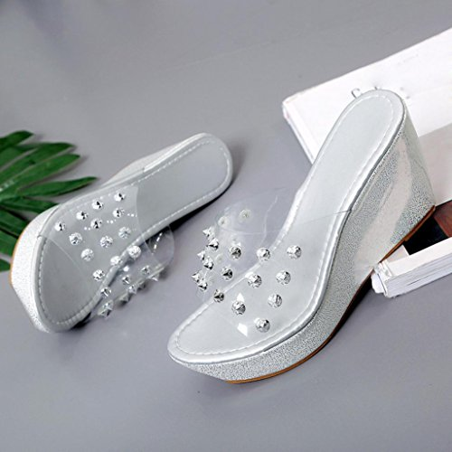 Transer® Damen Keilabsatz Blockabsatz Gold Silber Plattform Zehentrenner Kunstleder+Kunststoff Hausschuhe Silber