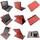 Coodio® Smart Asus Transformer Book T100TA funda de cuero rotatoria 360 con soporte integrado apretón de la mano(support teclado) - Rojo
