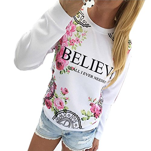 BIGHUB Small , White : Women Floral Print Long Sleeve Sweatshirt Mingfa Casual Loose Round Neck Plus Size Tops Blouse T-shirt