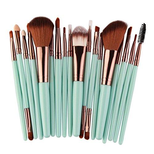 Moonuy Make-up Pinsel Set, 18 Stück Make-up Toilettenartikel Wolle Make Up Pinsel Set (Grün)