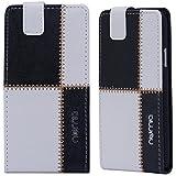 Samsung Galaxy Ace Hülle, numia Handyhülle Handy Schutzhülle [Handytasche mit Standfunktion und Kartenfach] Pu Leder Tasche fürSamsung Galaxy Ace S5830 S5830i Case Cover [Weiss-Schwarz]