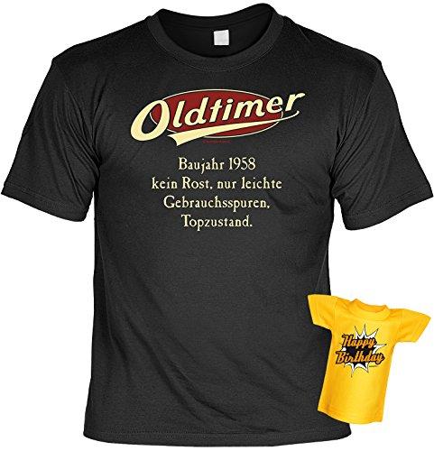 Jahrgangs-Spaß-Fun-Shirt-Set inkl. Mini-Shirt/Flaschendeko: Oldtimer Baujahr 1958 - geniales Geschenk Schwarz