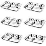 SM Set of 6 Stainless Steel Lunch Dinner Plate Bhojan Thali 5 in 1 Rectangle Compartments Kitchen & Dining Diwali Gifts Accessories