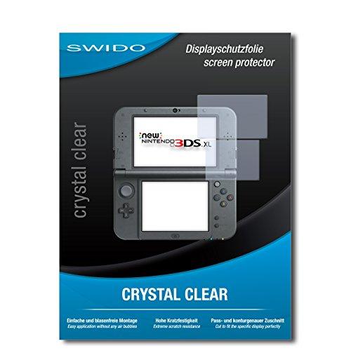 SWIDO Schutzfolie für New Nintendo 3DS XL [2 Stück] Kristall-Klar, Hoher Härtegrad, Schutz vor Öl, Staub und Kratzer/Glasfolie, Displayschutz, Displayschutzfolie, Panzerglas-Folie