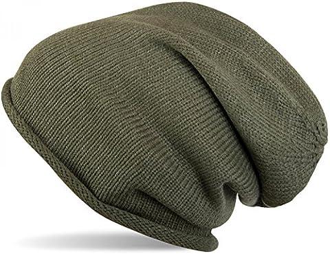 styleBREAKER warme Feinstrick Beanie Mütze in Unifarben, Strickmütze mit Rollrand, Wintermütze, Unisex 04024063, Farbe:Oliv