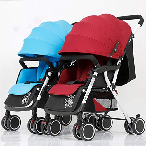HYCy Twin Baby Stroller, Lightweight Folding Four Wheeler, Adjustable Full Sunshade, High Carbon Steel Frame
