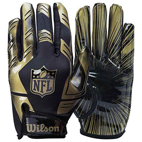 Wilson American Football Receiver-Handschuhe NFL STRETCH FIT RECEIVERS GLOVE, Einheitsgröße, schwarz/Gold, WTF930600M