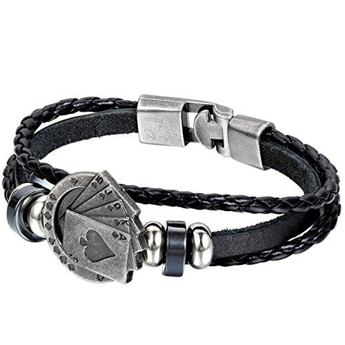 JewelryWe Schmuck Herren Armband, Royal Flush Poker Karte Ringe Geflochten Armreif, Legierung Leder, Schwarz - Ring Armband Und Männer Für Silber