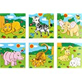 Mayatra's Early Age 6 In 1 Wood Block Puzzles For Small Kids. (Zoo Animals Theme)
