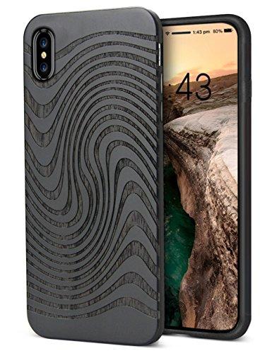 Cover iPhone X Cool, YFWOOD iPhone X Hülle Holz, Doppelte Ebenen Holz und Gummi Schützen Stoßstange für iPhone X Case, Wolken Padauk# (Hinweis 4 Fall Mit Screen Protector)