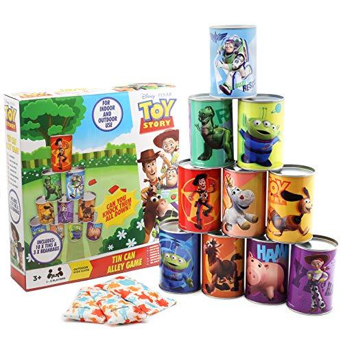 Disney Toy Story 4 Juego Latas para Niños   Juguetes para Exterior   Juego De Puntería para Niños Y Niñas   Juegos De Jardin con 10 Latas Y 3 Bolas De Lanzamiento