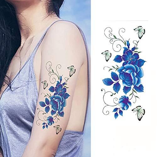 Tzxdbh 5 pezzi blu rosa fiori artificiali spalla braccio henné tatuaggio impermeabile tatuaggi temporanei donne sul corpo