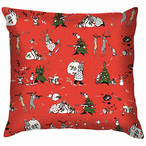 New Years On Red Holidays Attack Soft Cotton Linen Cushion Cover Pillowcases Throw Pillow Decor Pillow Case Home Decor 18X18 Inch