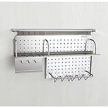 Estante de especias de acero inoxidable montado en la pared con ganchos y  escurridor de platos 9c44c2087e24