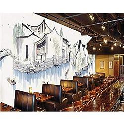 Peinture murale à la main peinte à l'encre de Chine Jiangnan ville d'eau fond d'écran décoratif mural papier peint pour chambre d'enfants