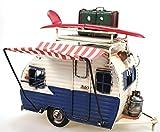 Unbekannt Wohnwagen aus Metall blau mit Rahmen und Spardose Camper Auto Oldtimer Nostalgie