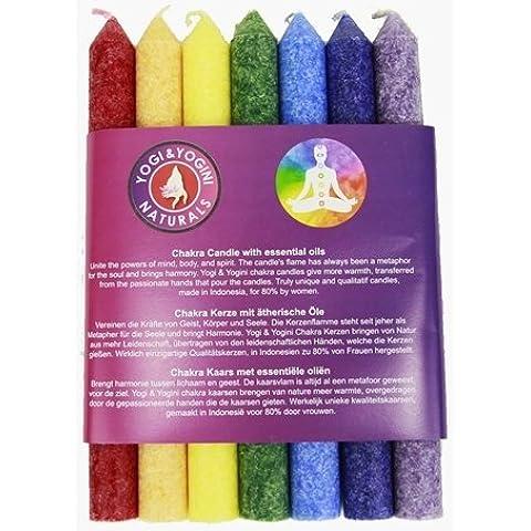 Trovare Qualcosa Di Diverso Chakra Candele Aroma assortimento, Bambù, Multicolore, 7pezzi