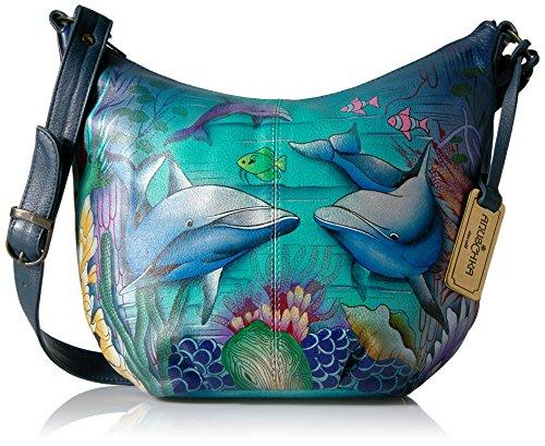 Anuschka handbemalte Ledertasche, Schultertasche für Damen, Geschenk für Frauen, Handgefertigte Tasche mit Fach- Top Zip Bucket Hobo (Dolphin World 471 DWD) (Anuschka Hobo)